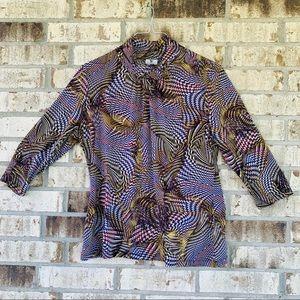 Worthington printed blouse size L